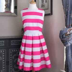 Striped pink and white spring/summer dress.